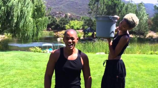 Actor Will Smith did the ice bucket challenge with some help from his daughter Willow