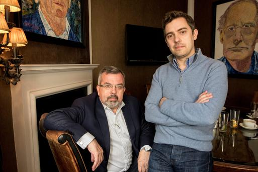 John Beckett at home with his father Ian. Photo: Mark Condren
