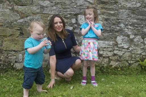Lisa Cotter with two of her three children, Finn, (18 months) and Sofia (3). Photo: Michael Mac Sweeney/Provison