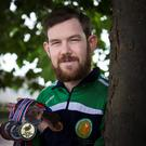 James Reynolds proudly displays his medals from the World Transplant Games in Dublin, South Africa, Poland and Croatia . Photo: Conor O'Riordan