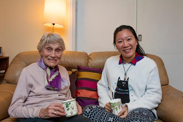 In good company: Mary (left) with her home care companion Lucy Liu. Photo: Arthur Carron