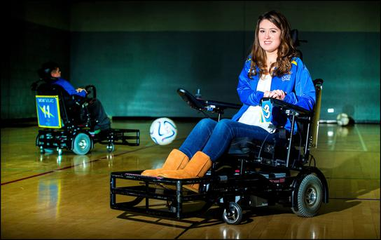 Emer O'Sullivan had never been part of a team before taking part in powerchair football. Photo: Marc Condren