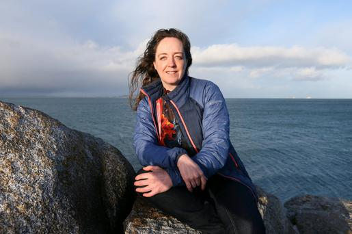 Flora McKnight at the Forty Foot in Co Dublin - she says that a cold swim helps to manage her symptoms. Photo: Frank McGrath