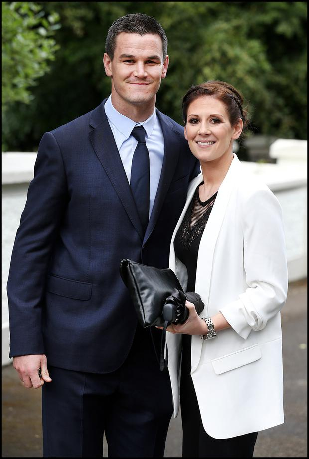 Rugby star Johnny Sexton with his wife Laura. Photo: Steve Humphreys