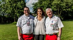 From left: Red Cross volunteer Ciarán McDonnell, Siobhán Jordan and Irish Red Cross Dublin Borough Deputy Area Director of Units Paul Conway