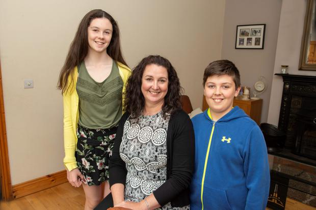 Orfhlaith Daly, from Newtown, Charleville, Co Cork with her daughter Emma (13) and son Michael (11). Photo: Michael Mac Sweeney/Provision