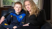 Mathew Cassidy, who suffers with dyslexia, with his mother Jennifer.  Photo: Tony Gavin
