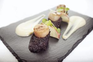 Scallops, apple and black pudding
