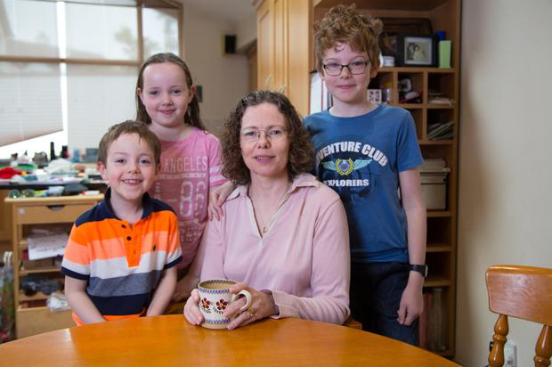 Siobhan Donohue, from Bray, with her children (l-r) Cillian, Aoife and Ciaran. Photo: Owen Breslin