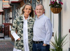 Joe McCann (63) with his daughter Vivienne at his home in Dublin's North Wall. Joe has Stage 4 cancer and had been attending St Francis Hospice until the pandemic and continues to receive their support. Picture: Frank McGrath