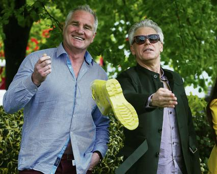 Brent Pope and Adam Clayton at the launch of 'Walk In My Shoes' in support of St Patrick's Hospital Foundation, Dublin