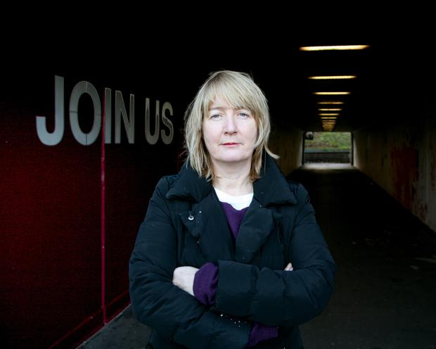 The writing is on the wall: Christina Reihill at one of the WallWalks installations in Dublin.