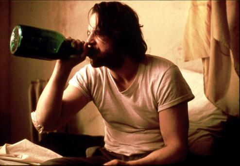Grim portrayal: Mickey Rourke's character hits the bottle in Barfly