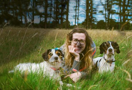 El Keegan with her two dogs Fuji and Leica. Photo: Colm Bowden.