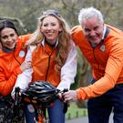 Actress Charlene McKenna and rugby pundit Brent Pope with Cycle Against Suicide volunteer (centre) Clara Hickey launching this year's event