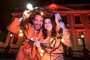 Cycle Against Suicide founder Jim Breen and event organiser Aisling Riordan at the Mansion House for Light Up Ireland in Orange for World Suicide Prevention Day