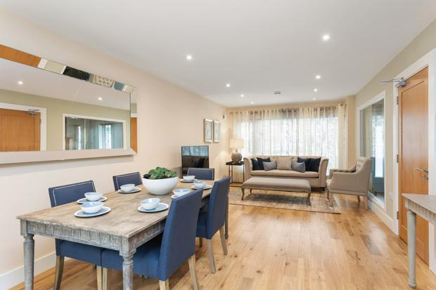 The open-plan living/dining area