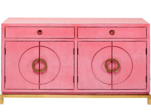 Sideboard, €1,439 Add an Asian touch with graphic lines, copper handles and black lacquer interior, Kare Disk Pink Sideboard; woodesign.ie