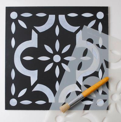 I can't believe it's not tile, €23.95: This large 'tile-inspired' floor stencil will liven up a dull floor; NicoletteTabram on etsy.com