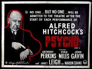 An early Psycho poster showing Alfred Hitchcock