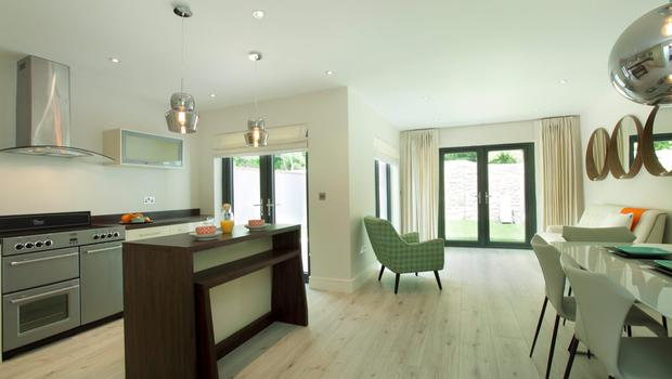 The kitchen/living area in The Croft, Loughlinstown, Dublin 18, which has an asking price of €475,000.