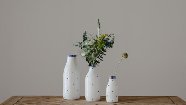 Rebecca Killen's Cobalt collection is a contemporary reworking in luminous porcelain of something we all find nostalgic: the good old fashioned milk bottle. From €33; rebeccakillen.com