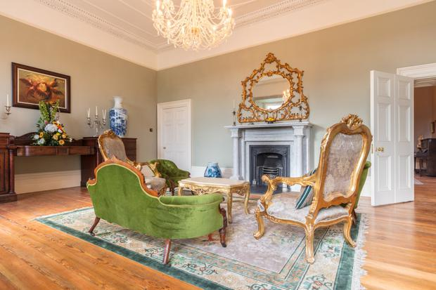 One of the reception rooms with its marble chimney piece