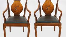Made in China: Indentical pair of ceremonial Chinese chairs with the Hennessy crest of arms