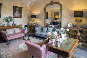 The main drawing room in Charles Lambert's and Ronan Daly's period home in Longford. The mirror was in the house when they bought it, while the sofas and rugs are from Ronan's parents' Victorian house in London. The pair of lamps are by Jonathan Adler. Photo: Tony Gavin