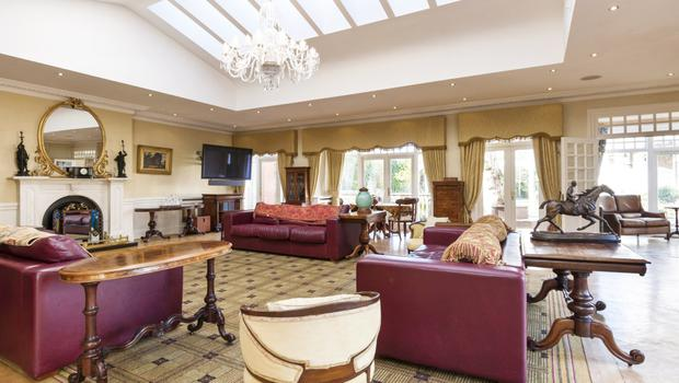 Lounge with marble fire surround, parquet floor, arched ceiling with Velux windows, and glazed doors leading outside