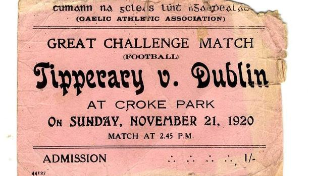 A ticket from the Tipperary v Dublin 'Bloody Sunday' match in November 1920.