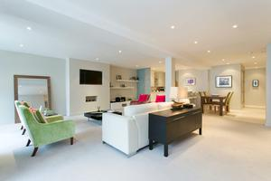 The open-plan kitchen/living room of the Lower Baggot Street property