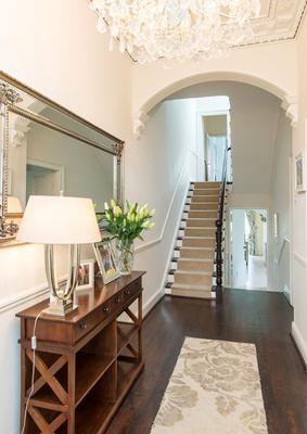 The property's entrance hall is elegant without being overdone.