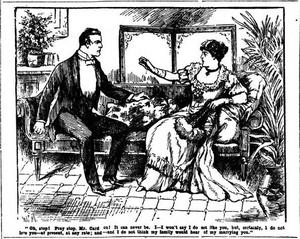 A contemporary newspaper illustration of Eleanor rejecting Sir John