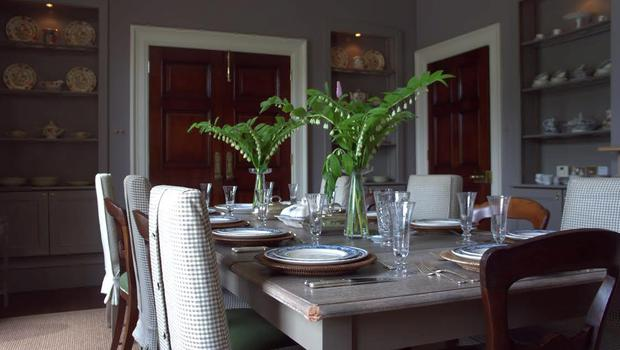 The dining room at Bishop's Vale with table dressed for dinner