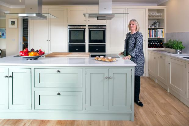 Edwina Gaisford St Lawrence in her open-plan kitchen.