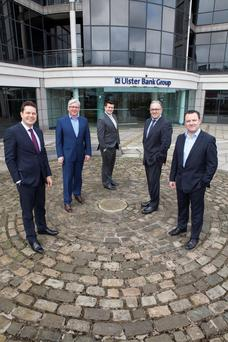 Pictured at the opening of registration for the National Residential Property Conference 2015 to be held in O'Reilly Hall UCD on April 30th were, from left, Jim Ryan, Ulster Bank Head of Branch Banking, Peter Bastable, Director, Pinergy, Jamie Douglas, Hunters Estate Agents, Michael Glynn, Director, D&G, and Paul Muldoon, Irish Independent