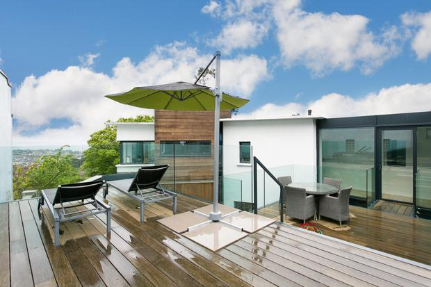 The decking area of The White House on Knocknacree Road in Dalkey, Co Dublin.
