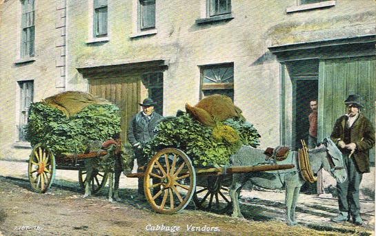 An old Irish postcard feature cabbage vendors.
