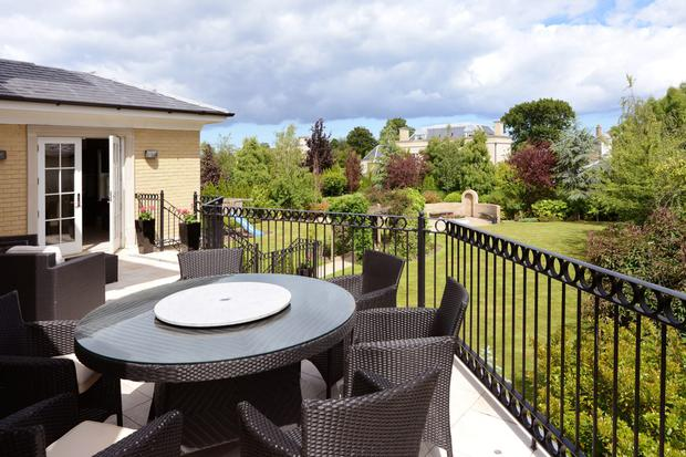 The sundeck which overlooks the back garden.