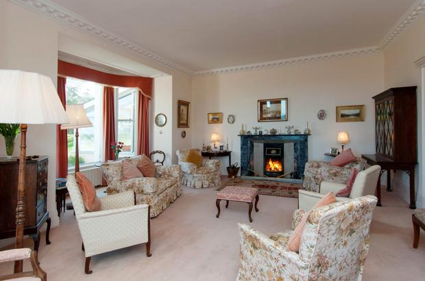 One of the reception rooms in Templecarraig House