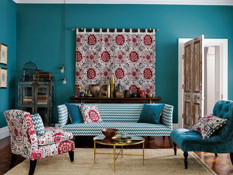 Sojourn Weaves interior design of re-upholstered furniture