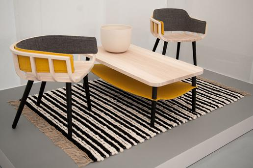 Notion and Mourne Textiles Frame Chair and Hang Table, Derek Wilson Ceramics bowl, Mourne Textiles Milano Rug