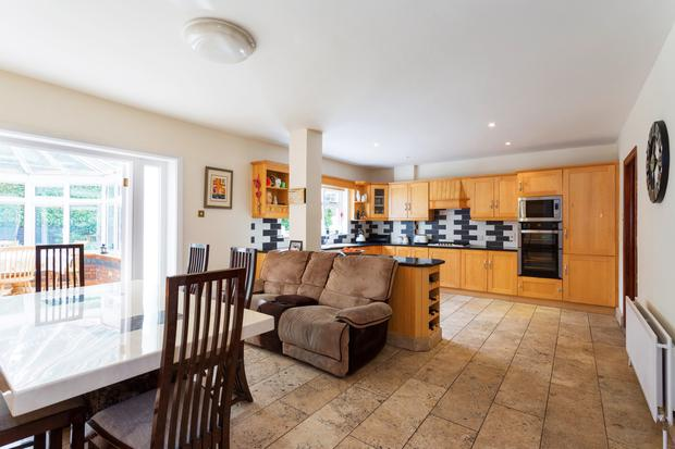 The kitchen/breakfast room has fitted units and appliances.