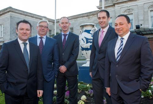 Paul Muldoon of INM, Pinergy's Peter Bastable, Enda Gunnell, CEO of Pinergy, Permanent TSB's Declan Fitzpatrick and Keith Lowe, CEO DNG, at the launch