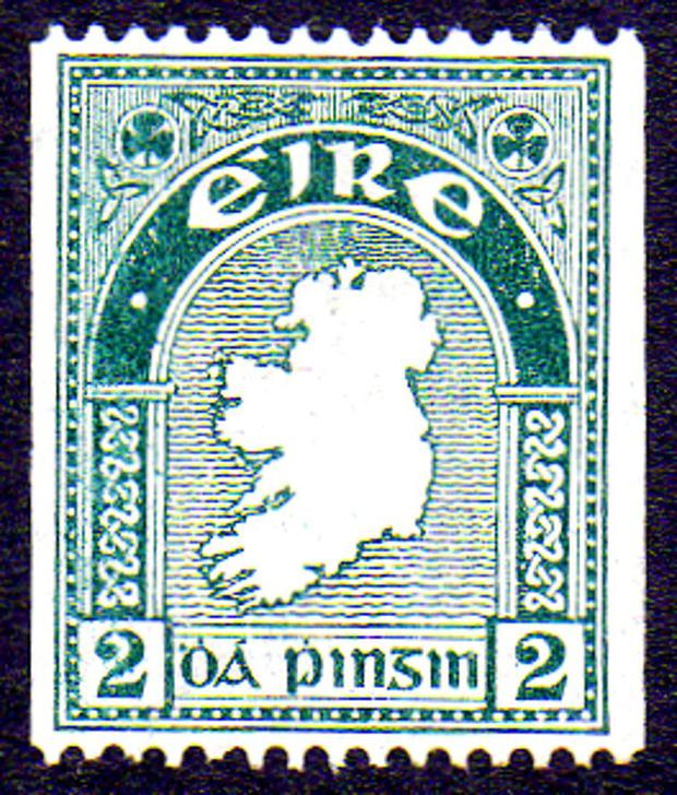 The valuable 2d stamp with no perforations on the sides