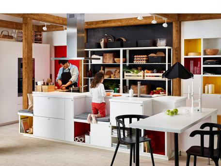 This kitchen by Ikea features a centre island with seating areas.