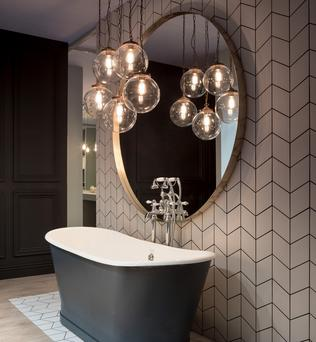 Riad 25cm globe cluster in the bathroom of the DFS showhouse from Mullan Lighting.