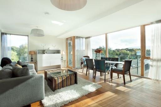 The large open-plan in one of the Mount St Anne's apartments.