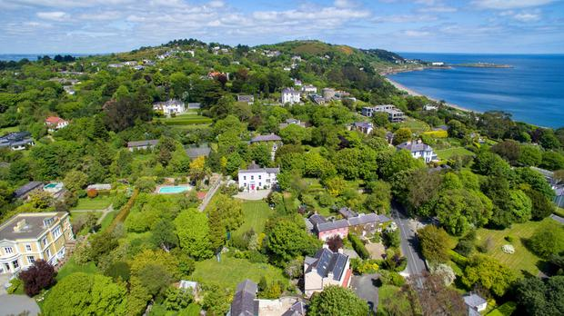 An aerial shot showing the location of No 51 among the luxury homes of Killiney.